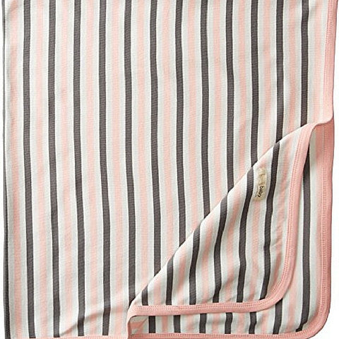 L'ovedbaby Organic Cotton Coral Stripe Swaddling Blanket