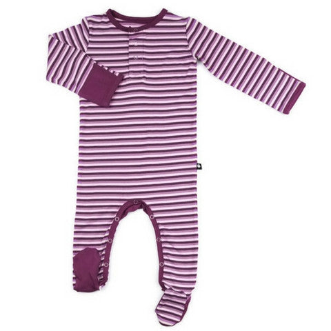Baby Girl Sweet Bamboo Cranberry Stripe Footie