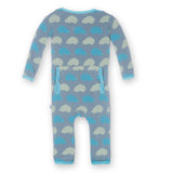 Baby Boy Kickee Pants Bamboo Dusty Sky Porcupine Fitted Coverall with Back Flap