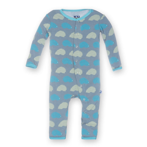 Baby Boy Kickee Pants Bamboo Dusty Sky Porcupine Fitted Coverall