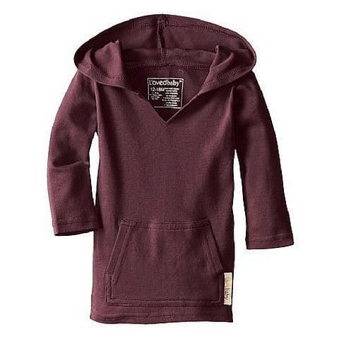 L'ovedbaby Eggplant Organic Cotton Long Sleeve Hooded Shirt Front