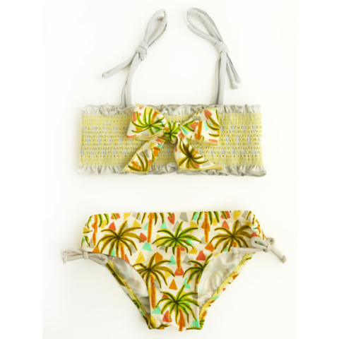 Yellow Palm Tree Smocking Top Bikini