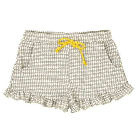 Grey Ruffled Gingham Shorts
