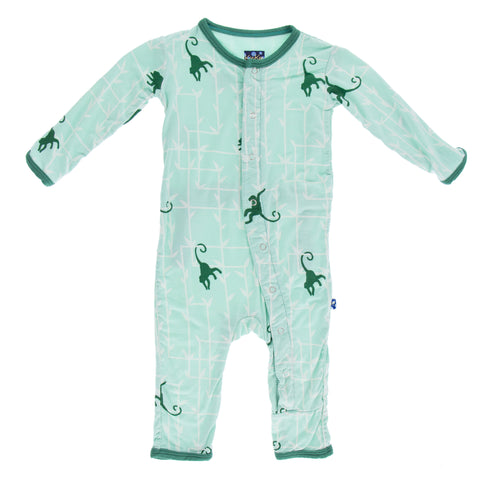 Kickee Pants Glass Forest Monkey Fitted Bamboo Coveralls
