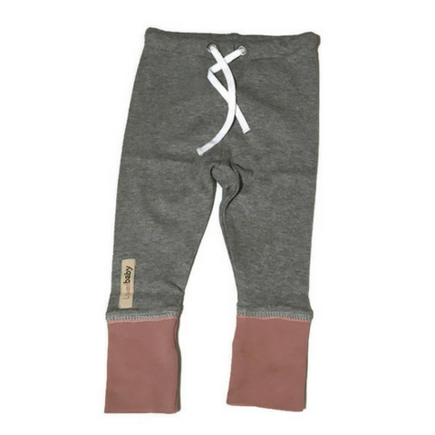 L'ovedbaby Mauve and Heather Gray Organic Cotton Joggers