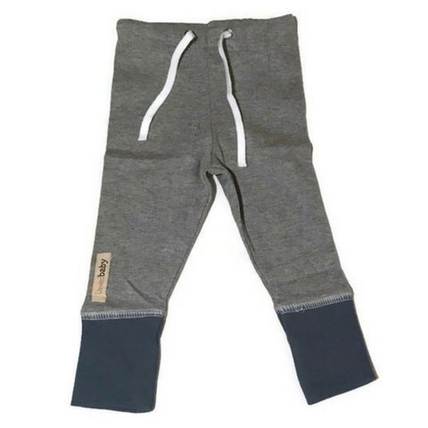 L'ovedbaby Slate and Heather Gray Organic Cotton Joggers