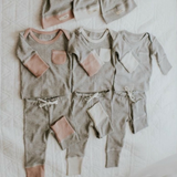 L'ovedbaby Stone and Heather Gray Organic Cotton Joggers