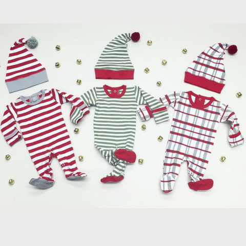 L'ovedbaby Organic G'loved Footie with Pom Pom Hat - Red and White Stripe (Candy Stripe), Green and White Stripe (Elf Stripe) and Plaid (Christmas Morning Plaid)