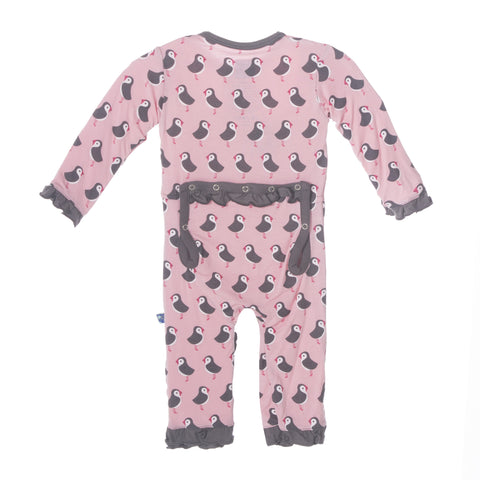 Kickee Pants Bamboo Girls Lotus Puffin Fitted Ruffle Coverall with back flap