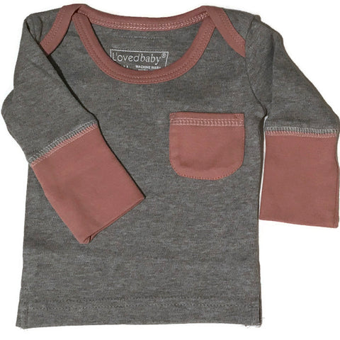 L'ovedbaby Mauve and Heather Organic Cotton Long Sleeve Shirt