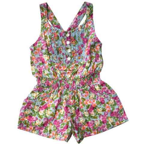 Blue Watercolor Flower Romper