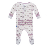 Kickee Pants Natural Sweet Treats Muffin Ruffle Super Soft Bamboo Snap Footie with adorable ruffles on the tush