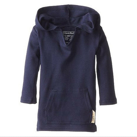 L'ovedbaby Navy Organic Cotton Long Sleeve Hooded Shirt For baby girl or boy