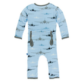 Kickee Pants Pond Airplane Super Soft Bamboo Snap Coverall with Adorable Back Flap