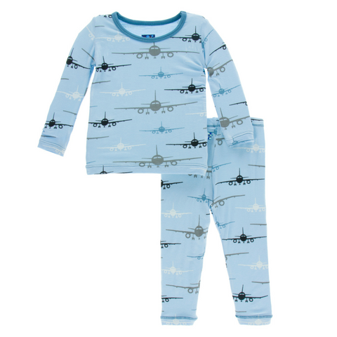 Kickee Pants Pond Airplanes Super Soft Bamboo Long Sleeve Pajama Set