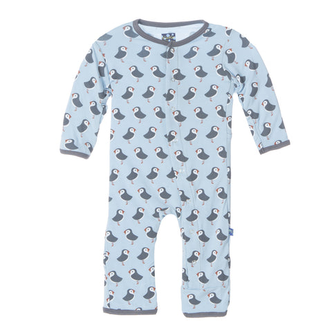 Kickee Pants Bamboo Boy Pond Puffin Fitted Coverall
