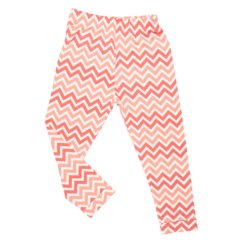 Sweet Bamboo Peach & Coral Chevron Leggings with Cuff