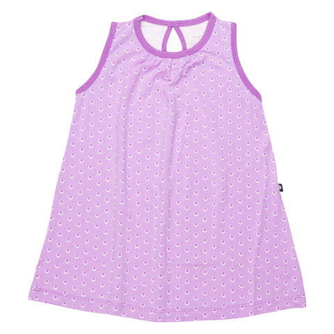 Sweet Bamboo Purple Dot A-line Summer Dress