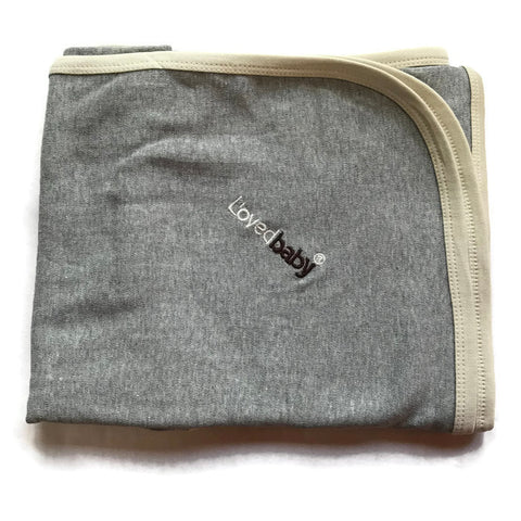 L'ovedbaby Stone And Heather Gray Organic Cotton Swaddling Blanket
