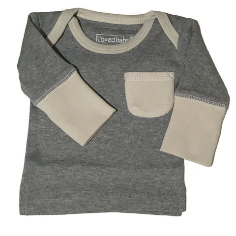 L'ovedbaby Stone and Heather Organic Cotton Long Sleeve Shirt