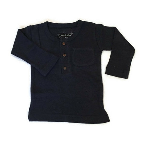 L'ovedbaby Navy Organic Cotton Thermal Long Sleeve Shirt