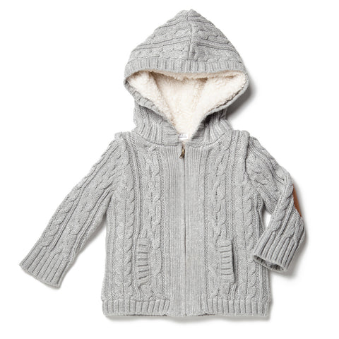 Faux-Fur Cable Hoodie