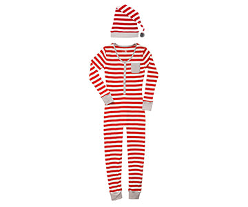 L'ovedbaby Organic Long Sleeve Women's Onesie Pajamas with Pom Pom Hat