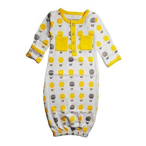 L'ovedbaby Yellow Hot Air Balloons Organic Cotton Gl'oved Sleeve Gown