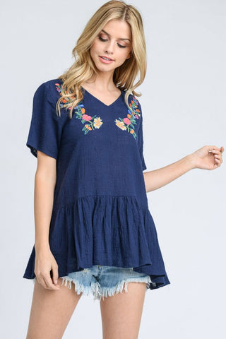 Embroidered V-Neck Peplum Top
