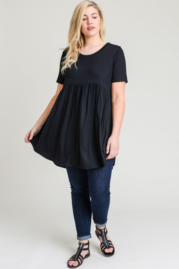 Black Short Sleeve Tunic