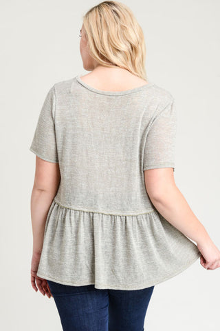 Sage Hacci Knit Peplum Top