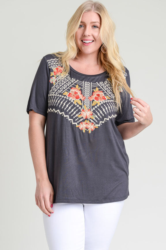 Embroidered Yoke Tee