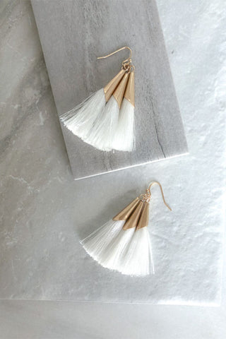 White Fringe Dangle Earrings