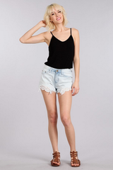 Denim & Lace Trim Distressed Cutoff Shorts