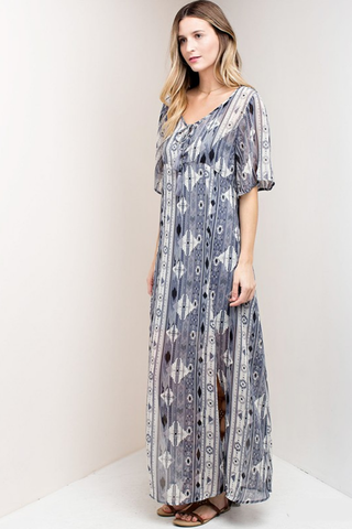 Aztec Printed Front Slit Boho Maxi Dress