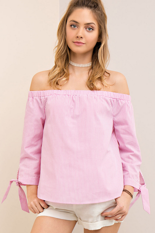 Off Shoulder Striped Pink Top