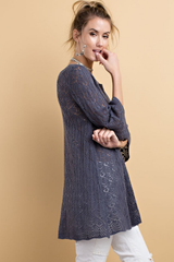 Slate Crochet Knit Half Sleeve Sweater