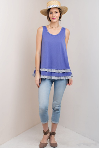Moonlight Blue Frilled Tank