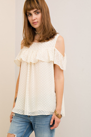 Swiss Dotted Ruffle Top