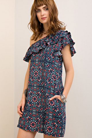 Floral Pocketed Print One Shoulder Dress