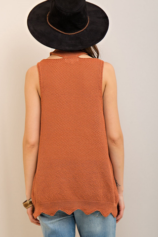 Mock Neck Desert Sand Knit Tank