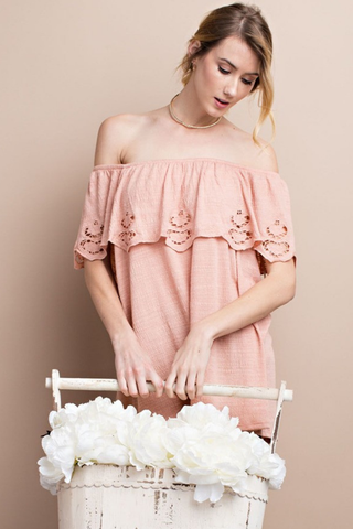 Faded Coral Off Shoulder Laser Cut Top