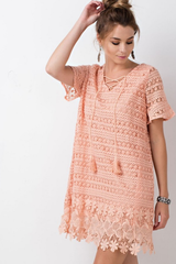 Apricot Lace Floral Shift Dress