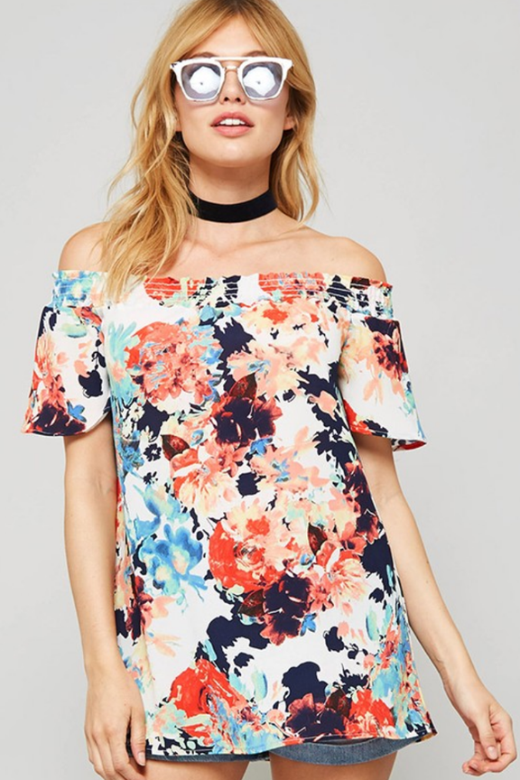 Multi Floral Off Shoulder Top