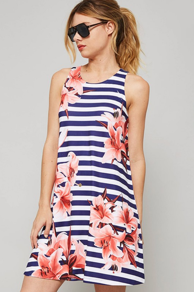 Navy Striped Sleeveless Print Dress