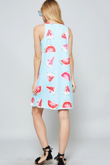 Sleeveless Watermelon Print Dress