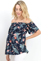Off Shoulder Floral Print Maternity Top