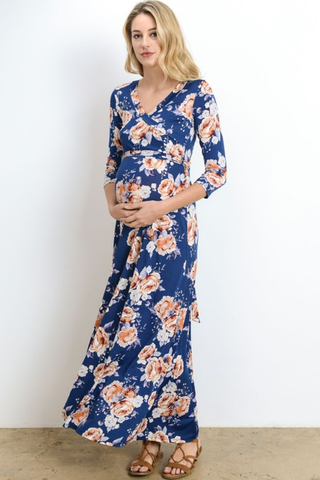Floral Faux Wrap Maternity Maxi Dress