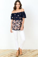 Navy Off Shoulder Maternity Top
