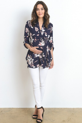 Navy Floral Elbow Sleeve Maternity Tunic Top